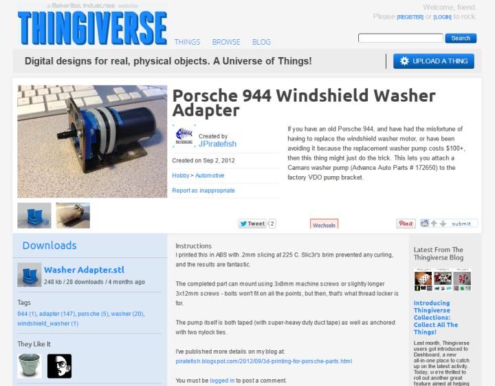 Porsche 944 Wasserpumpen-Adapter auf Camaro Wasserpumpe - Quelle: http://www.thingiverse.com/thing:29641