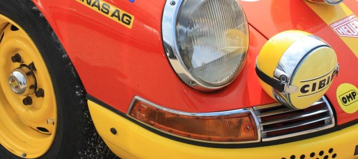 Ganz früher Rallye-Elfer (oder Zwölfer?) auf dem Porschetreffen in Dinslaken. Schön bunt - aber rückrüsten auf Originalzustand wird teuer!