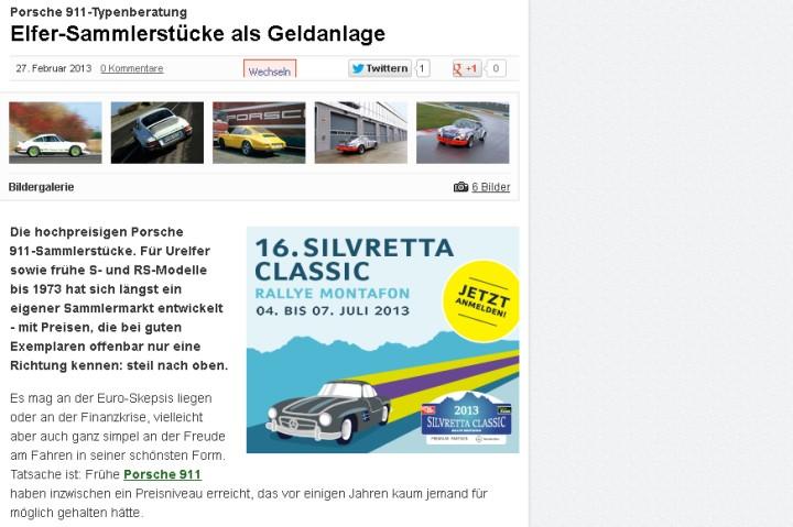 Porsche 911 Typberatung bei Motor Klassik Online - Elfer-Sammlerstücke als Geldanlage (Quelle / Fotos: Motor Klassik)