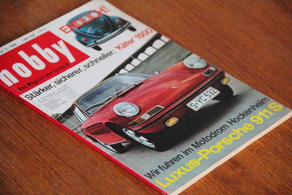 """Die Fuchs Felge hatte ihr Debut auf dem 160 PS starken Porsche 911 S, der im Jahr 1966 vorgestellt wurde. Hier auf dem Cover der Zeitschrift """"Hobby"""" vom 24.08.1966"""