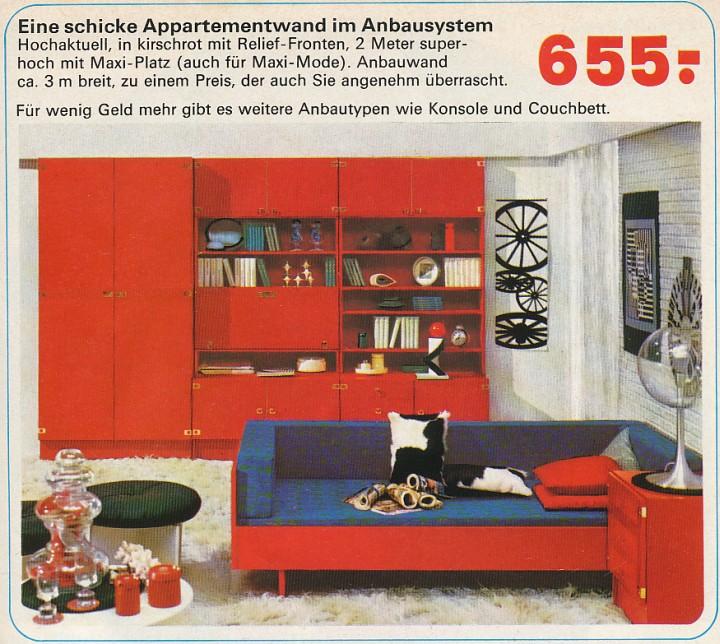 """Appartementwand im Anbausystem zum Preis eines Arova Skibobs: Wurfsendung von """"Möbel Niemeyer"""" in Essen um 1970"""
