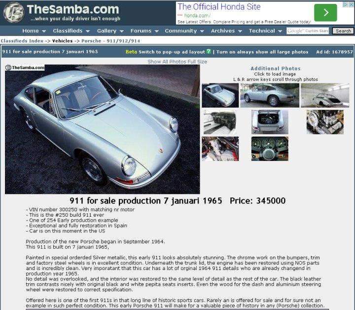 """Und schon wieder """"for sale"""" - verschämt versteckt im VW-Forum? Der von Gooding erst gestern verkaufte 1965er mit der frühen Fahrgestellnummer hat offensichtlich noch keinen echten neuen Eigentümer gefunden."""