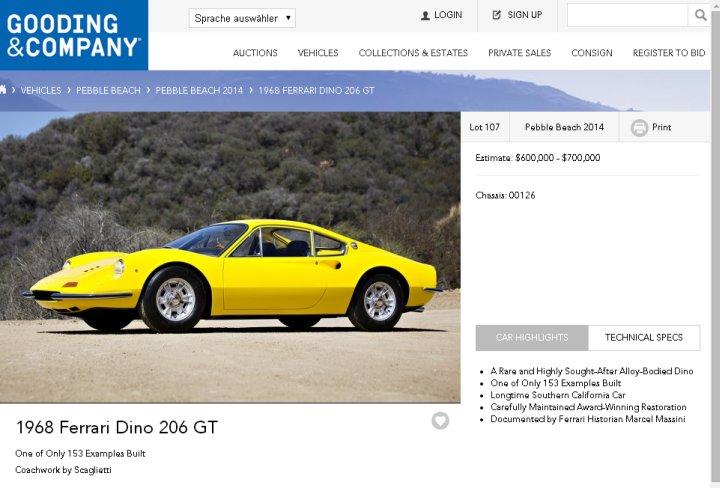 """Der Ferrari Dino von 1968 in """"Hallo Wach""""-Gelb überschreitet raketenschnell das gesetzte Estimate und wird für 748.000 US-Dollar an den neuen Eigentümer gebracht."""