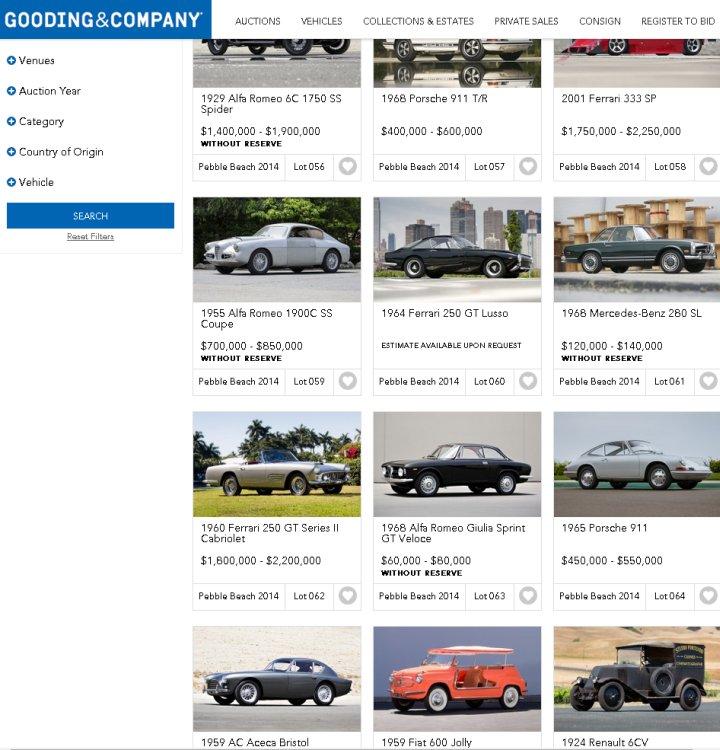 """Zwischen 68er Alfa Romeo Giuilia Sprint und 59er AC Aceca Bristol. 1965er Porsche 911 """"Produktion 1964"""" in selten anzutreffendem silber mit seltener anzutreffendem Höchst-Estimate von 550.000 US-Dollar"""