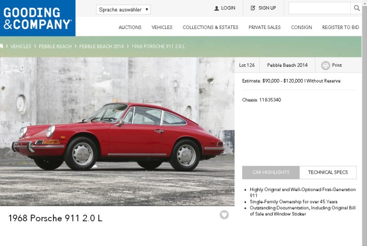 Nicht spektakulär, aber gut dokumentiert: Porsche 2.0 L von 1968. (Screenshot: http://www.goodingco.com)