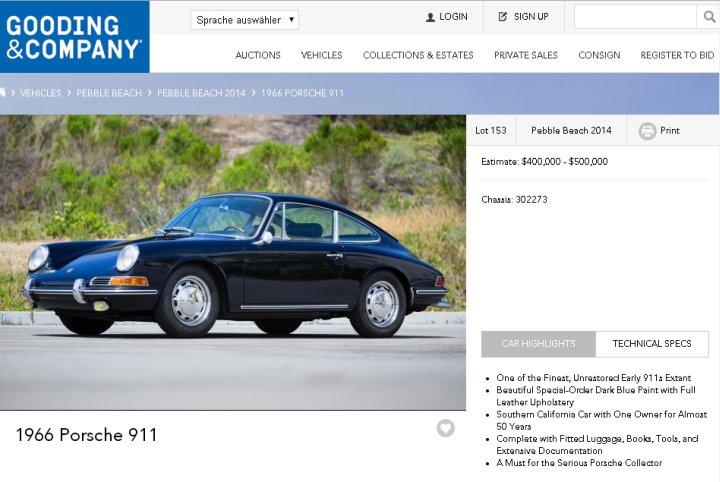 Ein Estimate von 400.000 - 500.000 EUR. (Screenshot: http://www.goodingco.com)