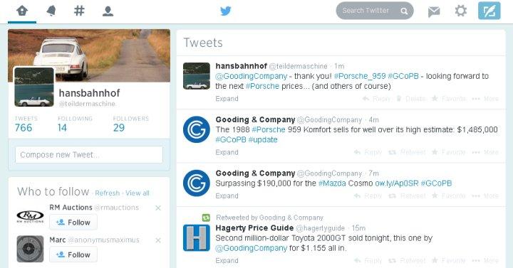 Das Internet ist super. Besonders Twitter. Der Porsche 959 hat ein geradezu unglaublich hohes Ergebnis eingefahren.