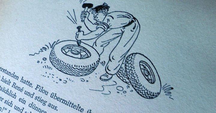 """Oldtimerrestauration 1954 - ob die Speichenräder von """"Spinne"""" das überleben? (Illustration aus der Erstauflage von Horst Lemke)"""