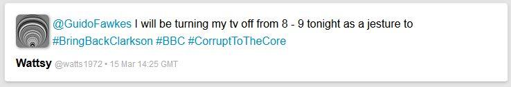 """""""Ich stelle heute von Acht bis Neun meinen Fernseher aus ...."""" - die Engländer greifen nun auch zu drastischen Maßnahmen (Quelle: Twitter, 15.03.2015)"""