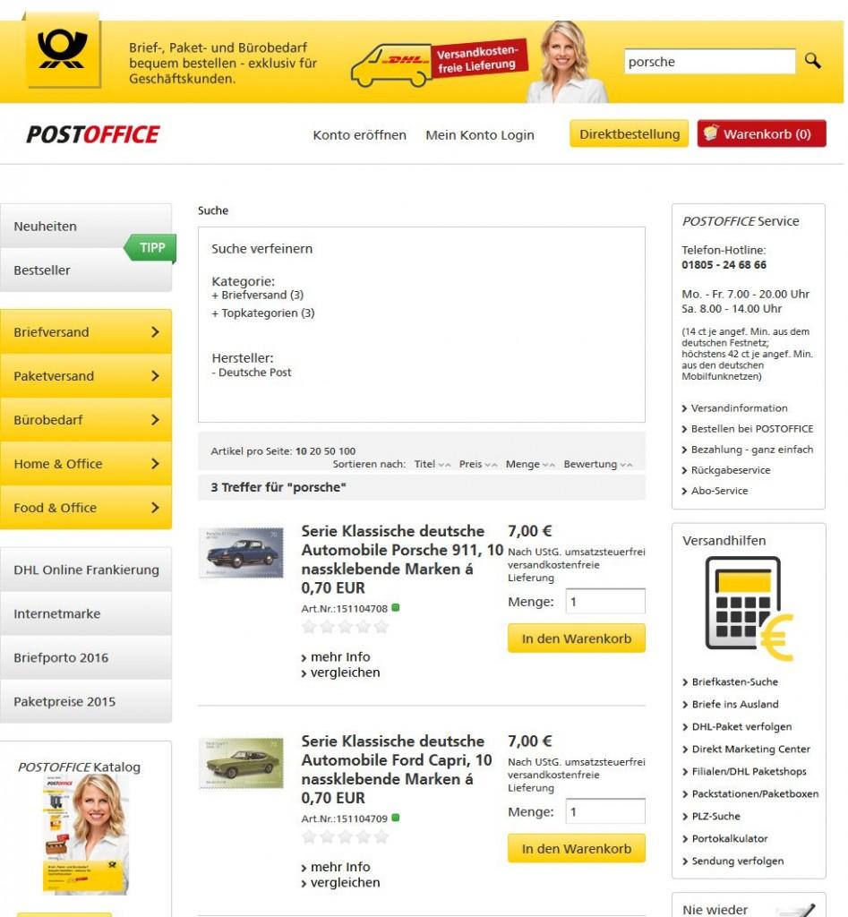 Da isse! Die Porsche-Briefmarke mit dem Softwindow-Targa zum Frankieren von Briefen für 0,70 EUR!