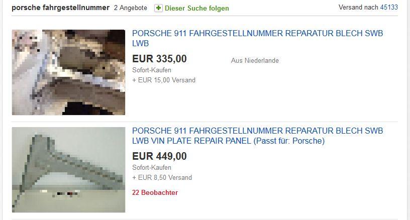 Das Blech auf dem sich beim Porsche F-Modell die Fahrgestellnummer befindet, gibt es als Ersatzteil bei einem Online-Auktionshaus zu kaufen. Komisch - dieser Bereich gehört zu den am wenigsten rostanfälligen Karosseriebereichen beim Elfer