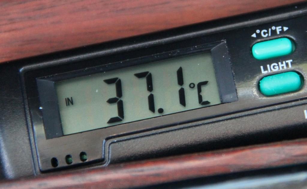 Abgekühlt! Der SWB-Innenraum hat sich auf frische 37.1 Grad abgekühlt. Wo ist mein Schal?