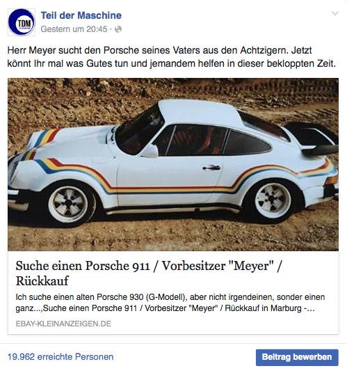 Meyers Porsche bei TDM. Bislang der wohl erfolgreichste Facebook-Post der TDM-Geschichte.
